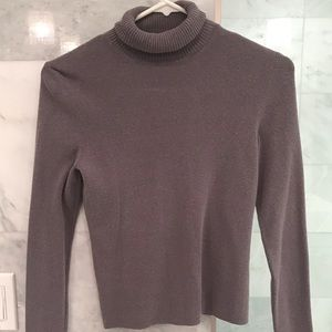 Express Gray Stretch Cropped Turtleneck Size S